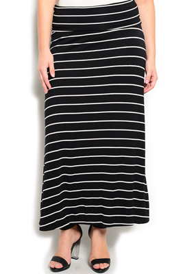 Plus Size Trendy Striped Soft Knit Maxi Skirt