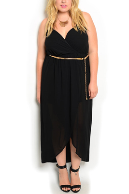 Plus Size Sweetheart Slit Dress With Belt