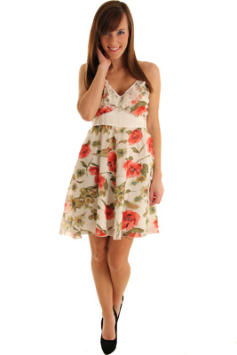 Sleeveless Cross Back Spring Flowers Party Dress