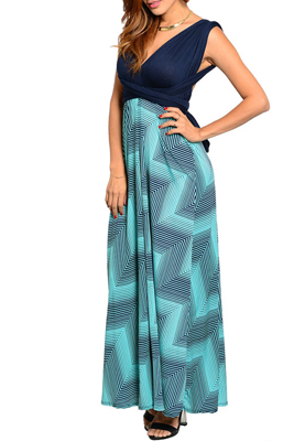 Convertible Open Back Wrap Geometric Maxi Dress