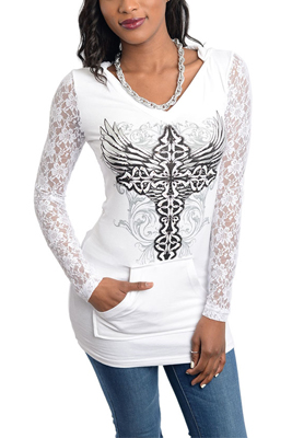 Rhinestone Lace Celtic Cross Tattoo Print Hoodie Top