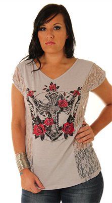 Trendy Lace Tattoo Print Plus Size Top