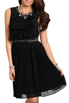 Sleeveless Pleated Jeweled And Beaded Party Dress