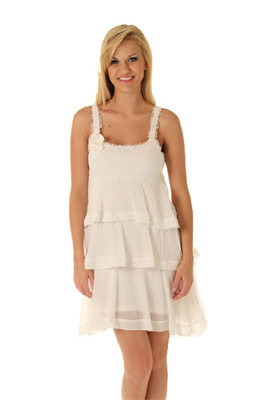 Flirty Ruffled Tiers Sleeveless Summer Dress