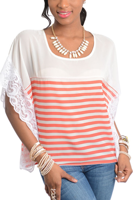 Striped Romantic Lace Short Sleeve Knit Top