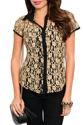 Girly Dressy Sheer Floral Lace Button Down Top
