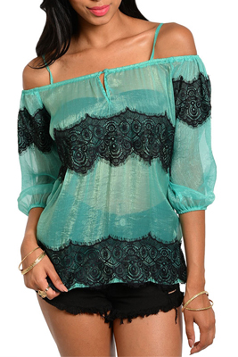 Sexy Sheer Lace Off Shoulder Peasant Top