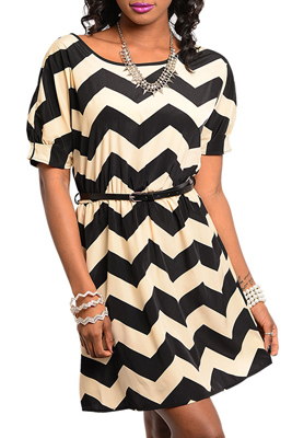 Sexy Key-Hole Chevron Print Party Dress With Belt