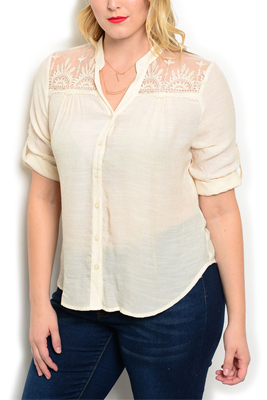 Plus Size Sheer Button Up Floral Lace Top