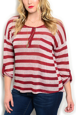 Plus Size Sheer Striped Slashed Back Top
