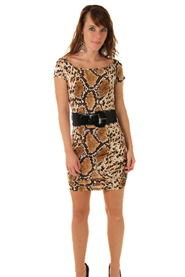 Sexy Snake Print Boat Neck Dress with Belt