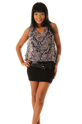 Batik Print Sleeveless Mini Dress with Belt