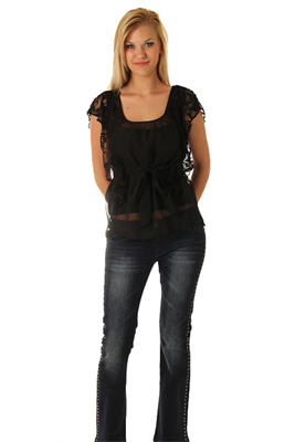 Trendy Sheer Lace Waterfall Sleeve Top with Sash