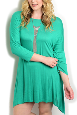 Plus Size Sharktail Hem Knit Date Dress