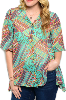 Plus Size Buttoned Johnny Collar High Low Top