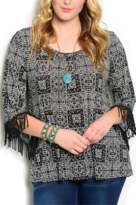 Plus Size Tribal Print Fringed Sleeves Top