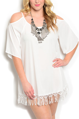 Plus Size Sheer Exposed Shoulders Fringe Dress