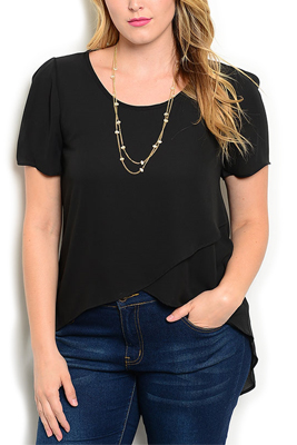 Plus Size Chiffon High-Low Short Sleeve Top