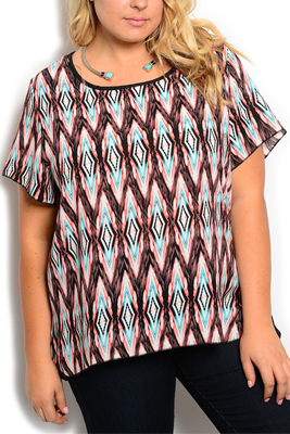 Plus Size Trendy Sheer Chiffon Tribal Top