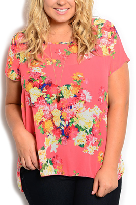 Plus Size Sheer Chiffon Floral Top