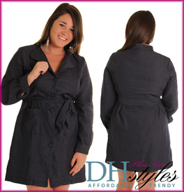 Denim Professional Trench Plus Size Dress with Sash