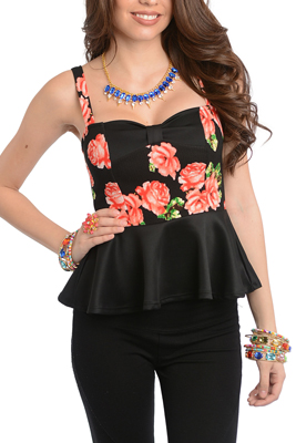 Trendy Floral Print Peplum Knit Top