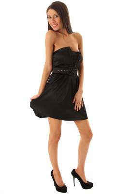 Strapless Envelope Bust Cocktail Dress with Belt