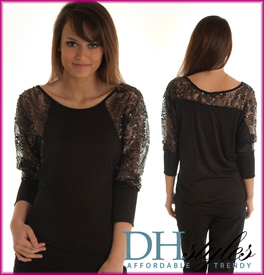 Trendy Sequin Lace Dolman Sleeve Knit Top