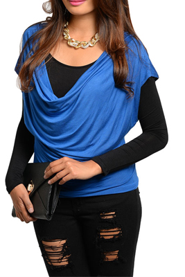 Trendy Draped Front Layered Long Sleeve Top