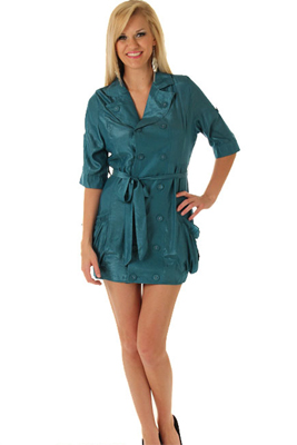 Shimmer Double-Breasted Shirtwaist Day Dress W/Sash