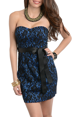 Romantic Classy Lace Overlay Date Dress with Sash