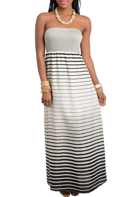 Classy Strapless Striped Chiffon Evening Dress
