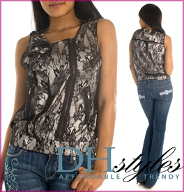 Edgy Asymmetrical Zippers and Lace Shell Top