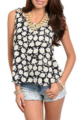 Trendy Wrap Back Short Sleeve Floral Top