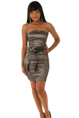 Sexy Strapless Taffeta Mini Dress with Belt