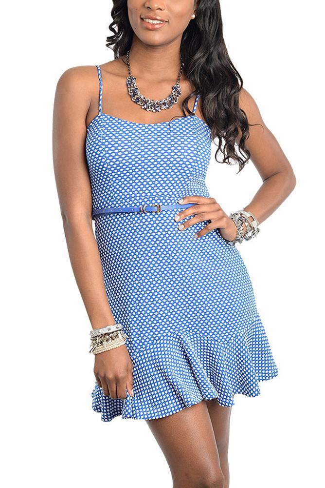 DHStyles Women's Blue White Flirty Polka Dot Date Dress with Belt - Small
