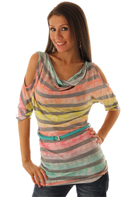 Girly Knit Striped Summer Top with Belt
