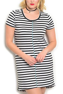 Plus Size Sheer Striped Knit High Low Dress