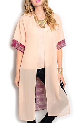Trendy Sheer Chiffon Tribal Long Cardigan