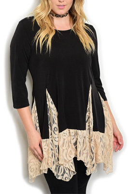 Plus Size Trendy Dressy Sheer Lace Tunic Top
