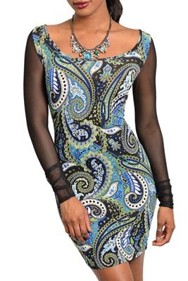 Sexy Long Sleeve Mesh Paisley Print Heart Open Back Dress