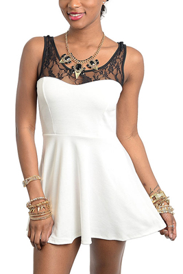 Trendy Sleeveless Lace Peplum Dress