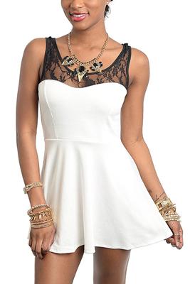 Trendy Sleeveless Lace Peplum Dress