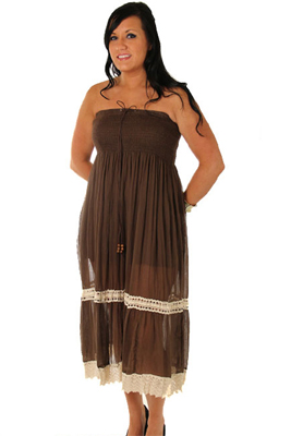 Boho Strapless Cotton Plus Size Summer Dress