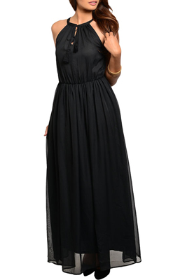 Chiffon Open Racer Back Halter Maxi Dress