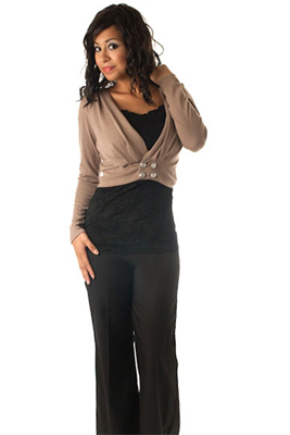 Long Sleeve Button Front Knit Shrug