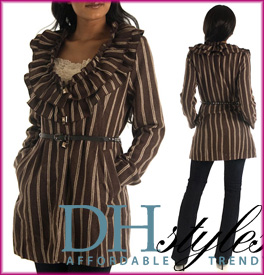 Posh Pinstriped Ruffle Trench Jacket/Coat with Belt