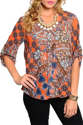 \Abstract Antique Pattern Chiffon Three Quarter Sleeve Top
