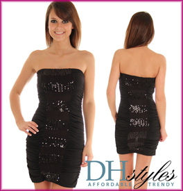 Sexy Sequined Ruched Cocktail Dress