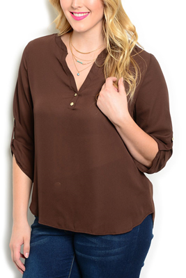 Plus Size Button Front Rolled Cuff Top